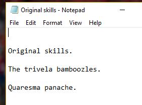 Original skills