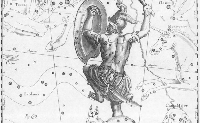 Constellations, legends, and three men in acanoe.